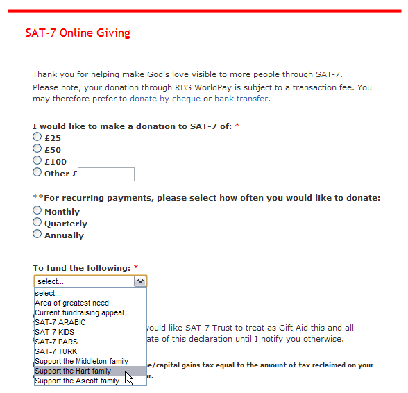SAT-7 Online Giving Site