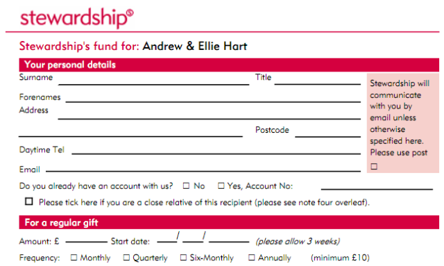 Stewardship Support Form